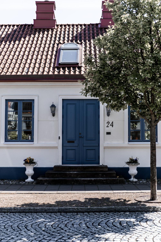 blue wooden door near green tree during daytime