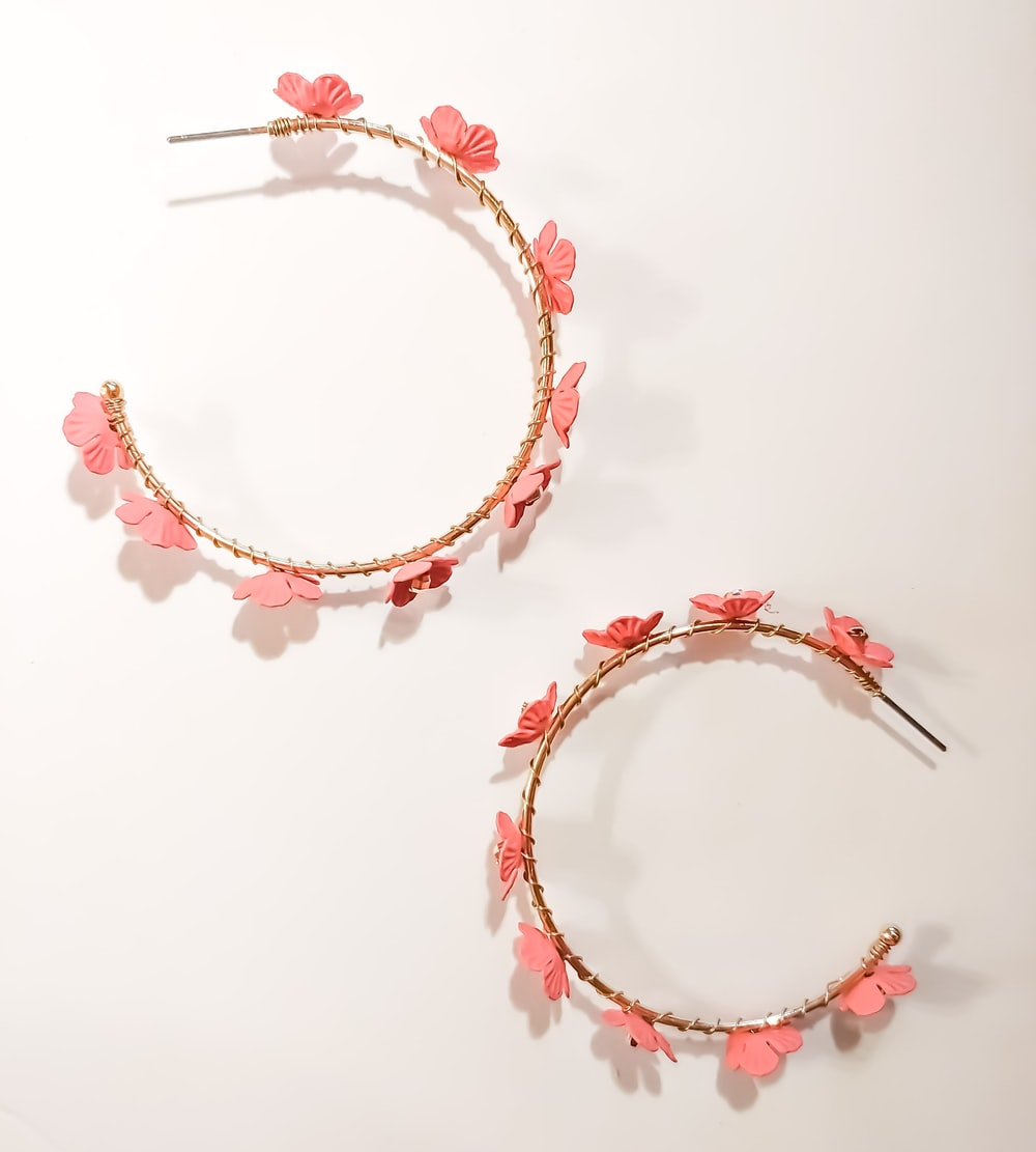 red and white floral bracelet