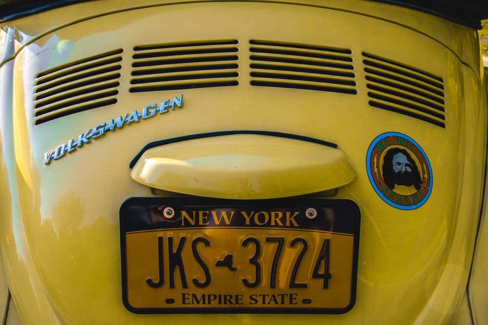 blue and white car license plate