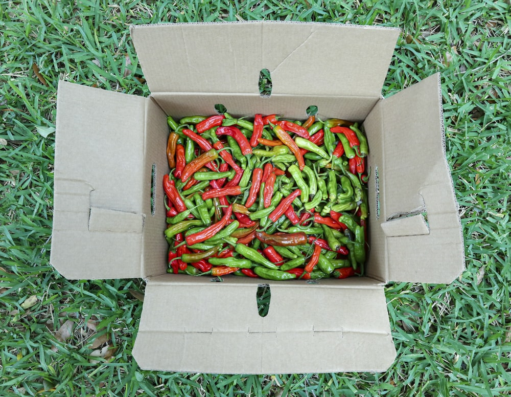 green and red chili peppers in brown cardboard box