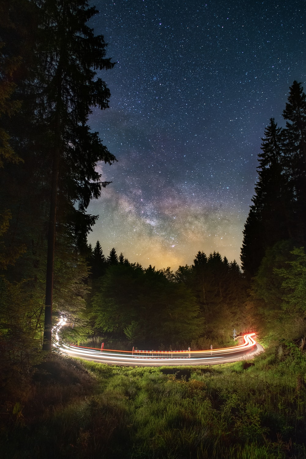time lapse photography of road between trees during night time