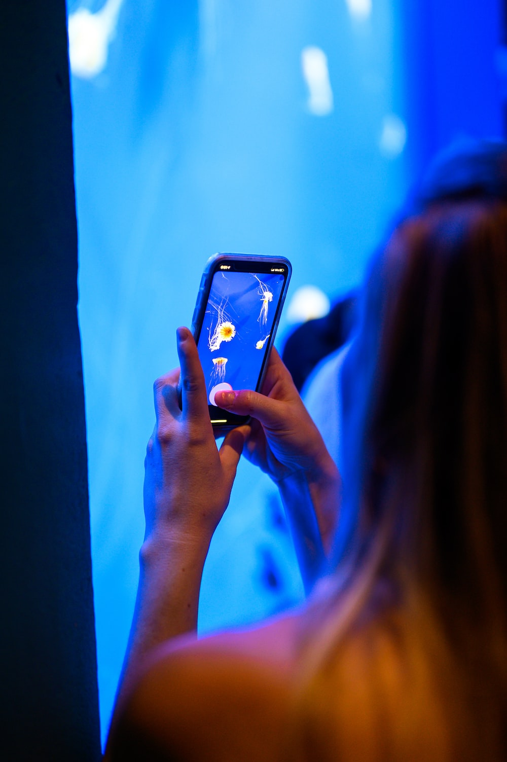woman holding iphone taking photo of a woman