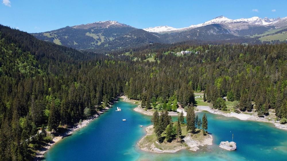 昼間は緑の木々や山々に囲まれた緑の湖