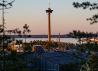 Näsinneula in sunset light. It's the tallest free-standing structure in Finland. It was built in 1971 and is located in the Särkänniemi amusement park.