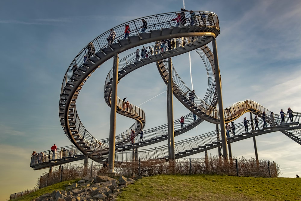 white and red roller coaster