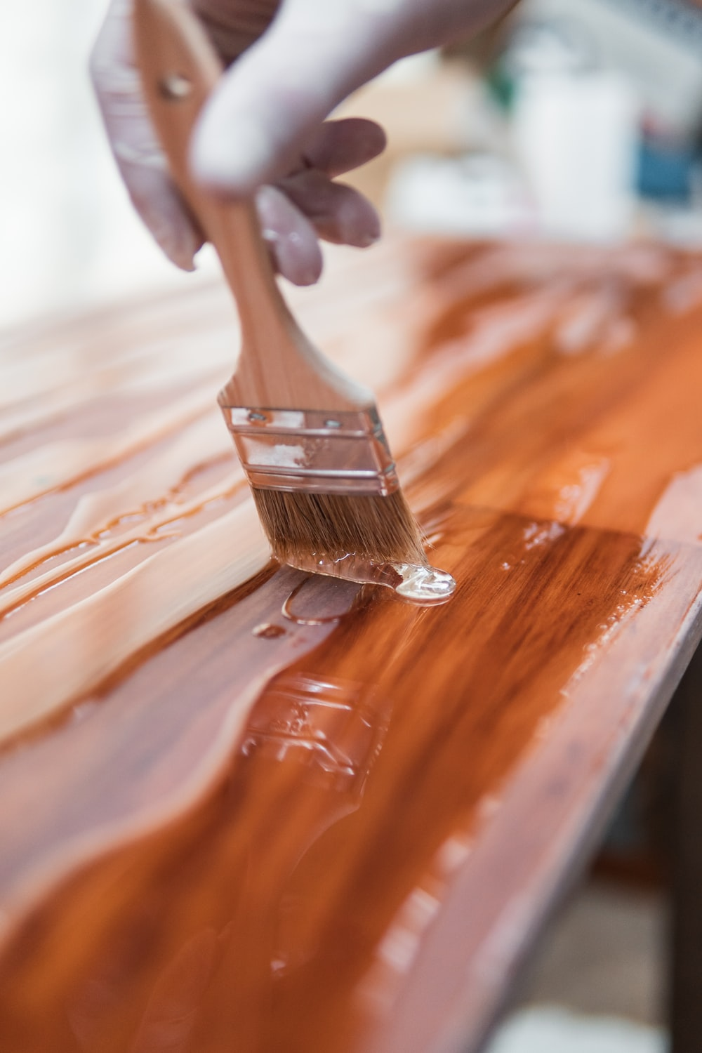Brown Wooden Handle Brush On Brown Wooden Table