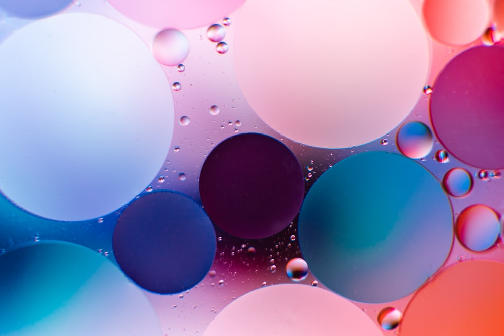 blue and white bubbles illustration