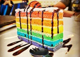 multi colored cake on white ceramic plate