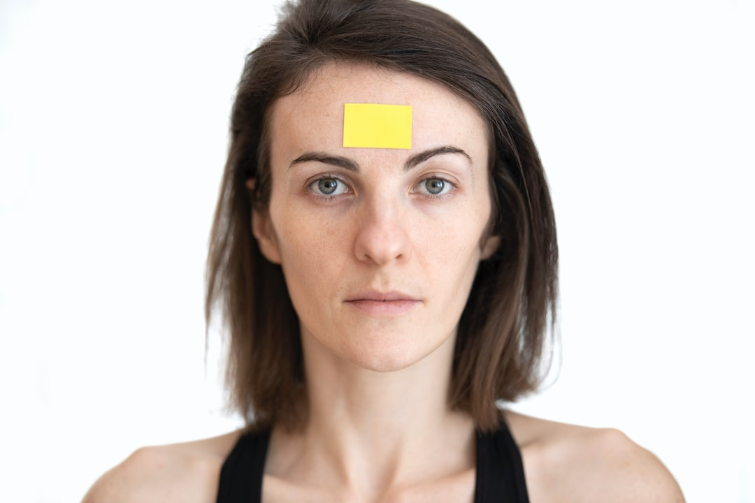 yellow label and woman face