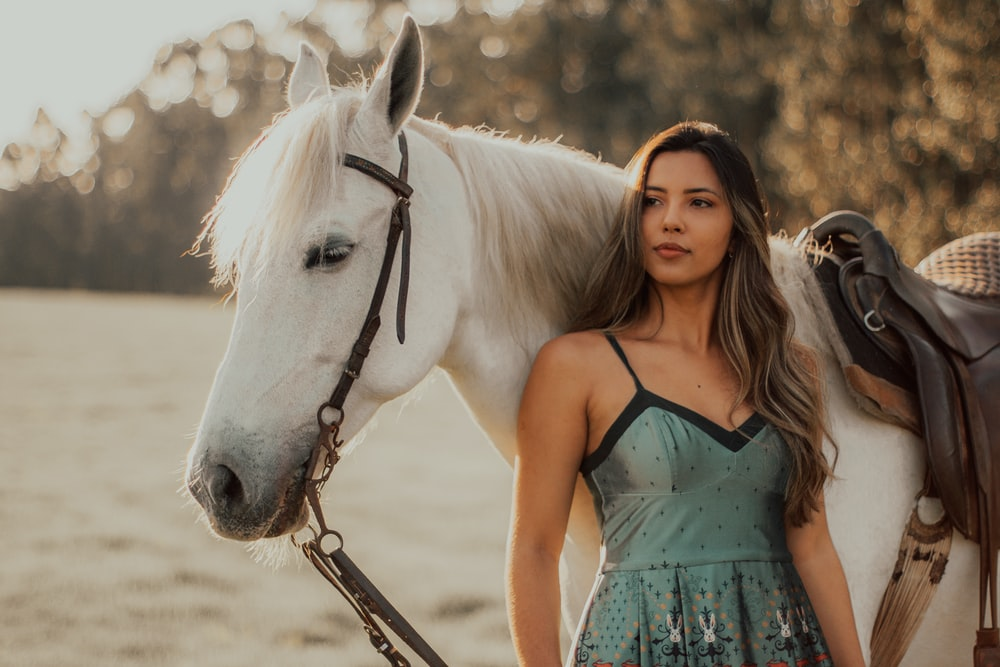 woman in blue spaghetti strap dress standing beside white horse during daytime