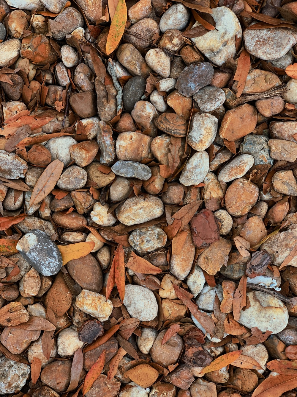 brown and gray stone fragments