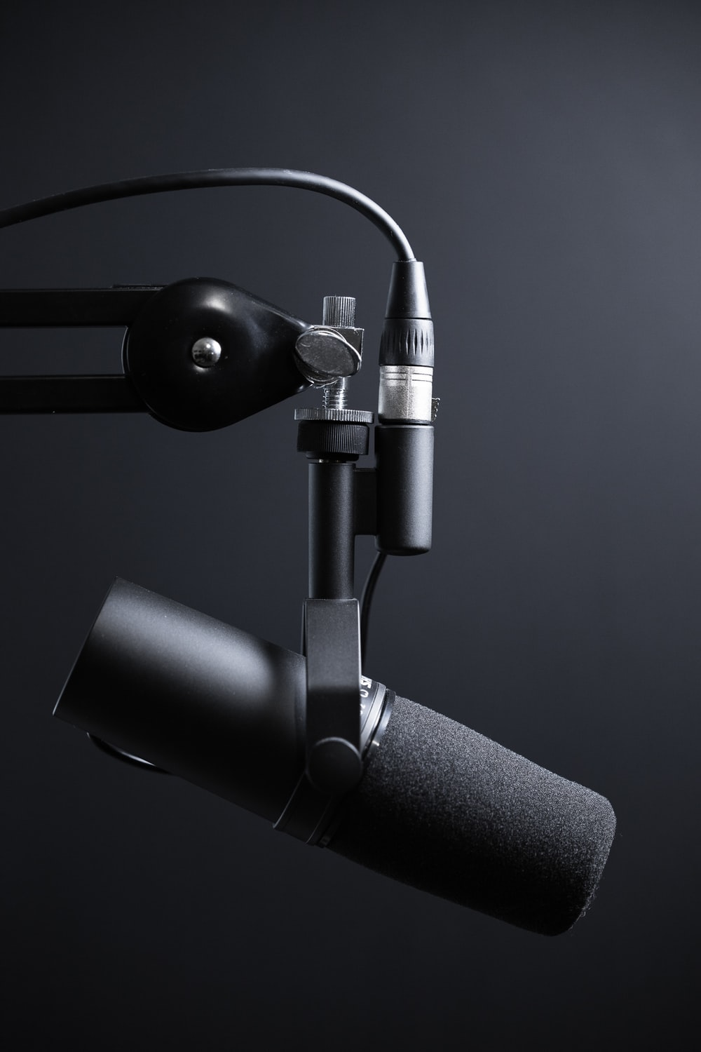 black and silver microphone with stand