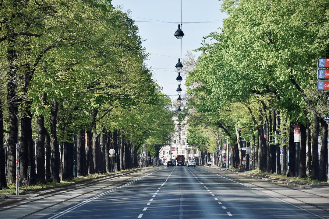 Rare view of a semideserted Ringstrasse in the morning of an April day of 2020.