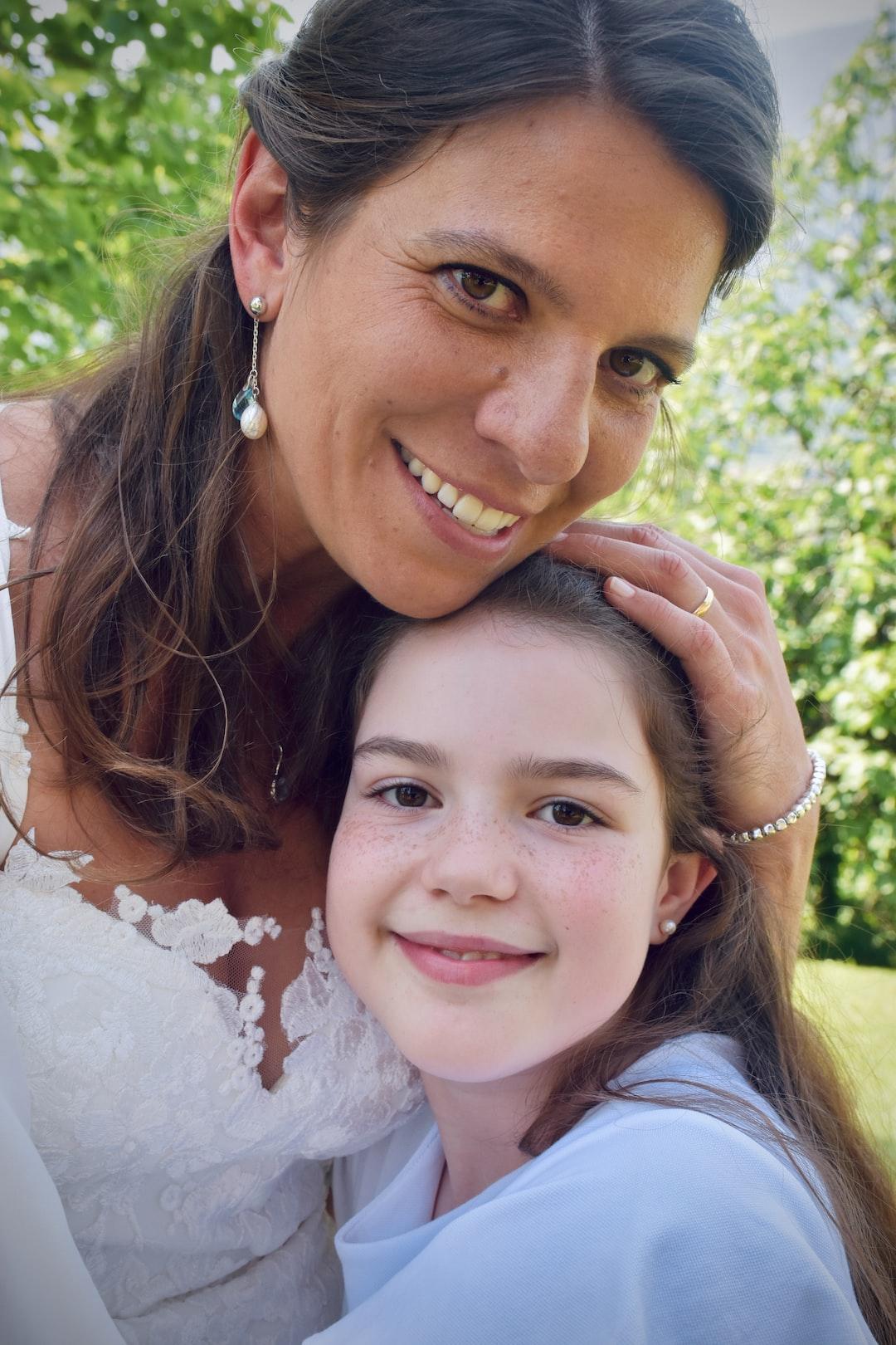 Happy bride and happy bridesmaid