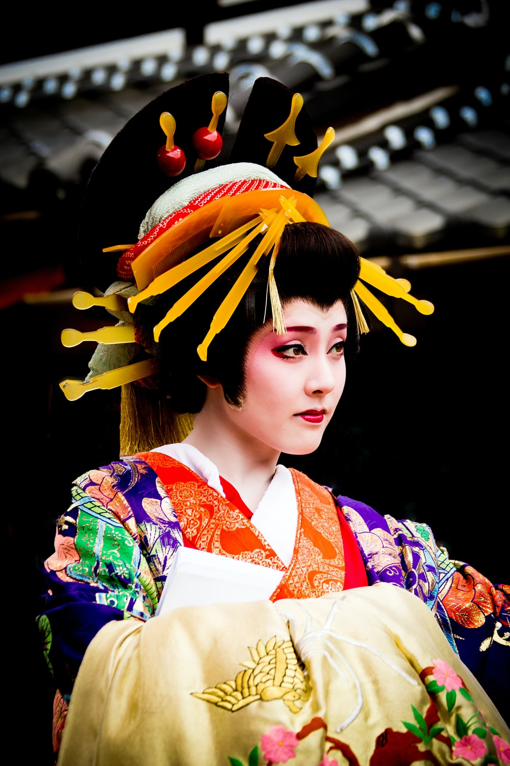 woman in yellow and red kimono