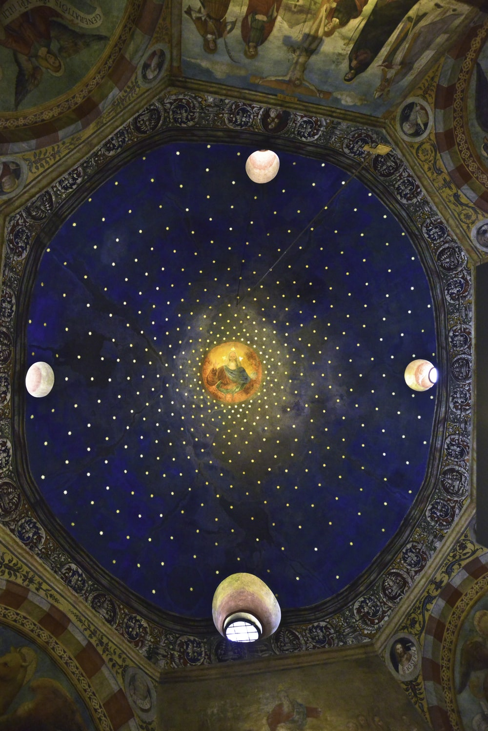 blue and gold round ceiling