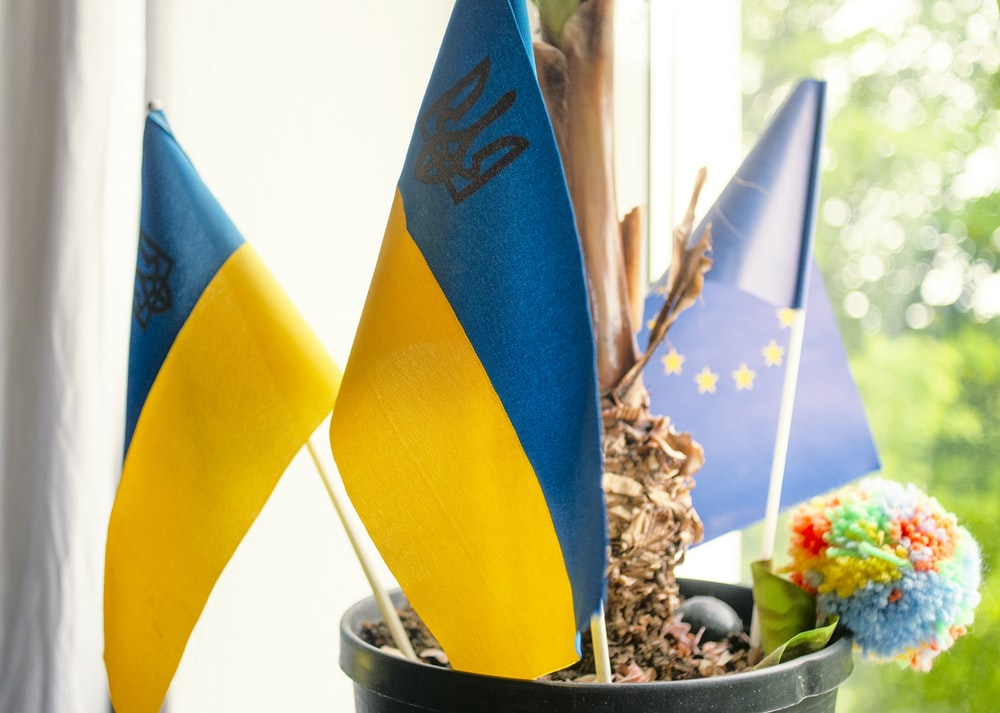 blue and yellow flag beside brown and white stones