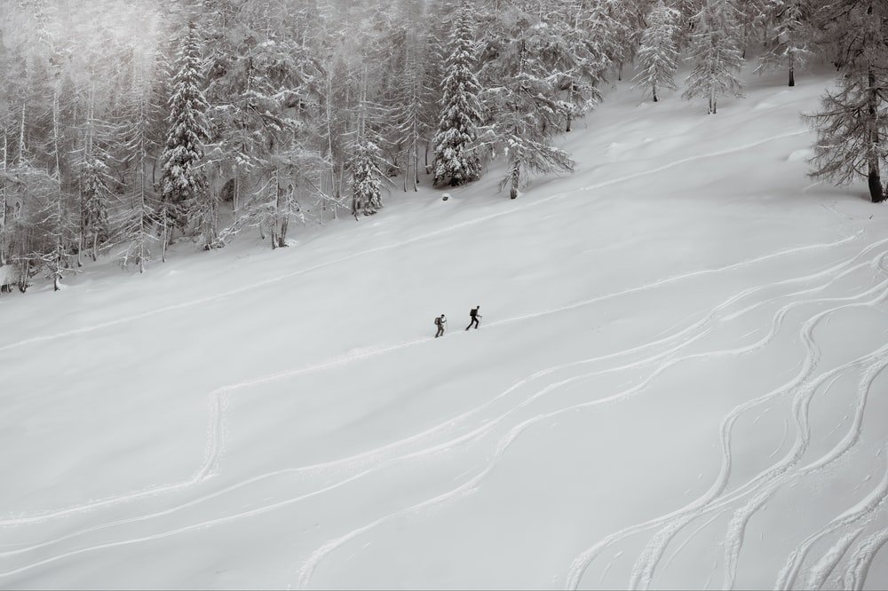 person riding ski board on snow covered ground during daytime