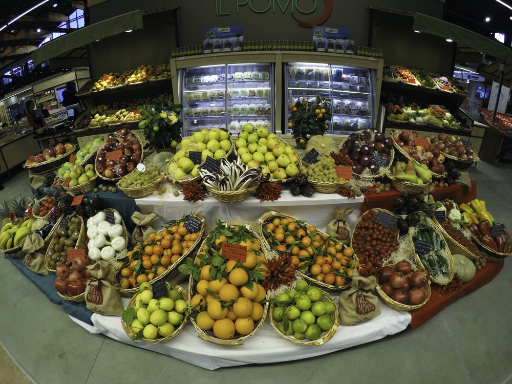 fruit stand on display counter