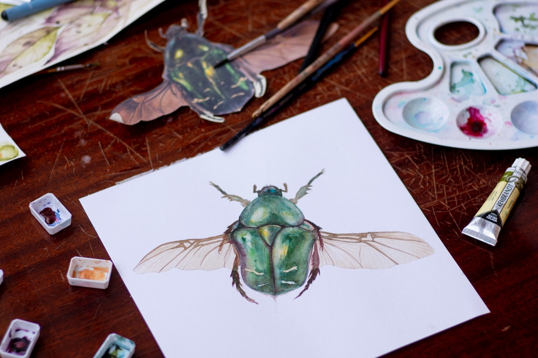 watercolor green beetle