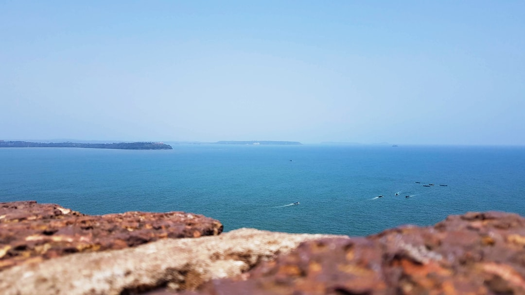 Sea view from a Fort wall. Vast blue sea. Sea top view.