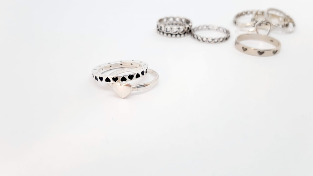 silver and diamond studded ring