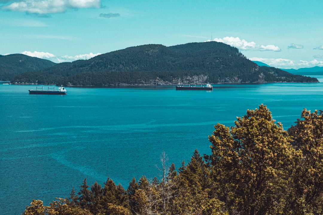 View from Pender Island looking at Saturna Island.