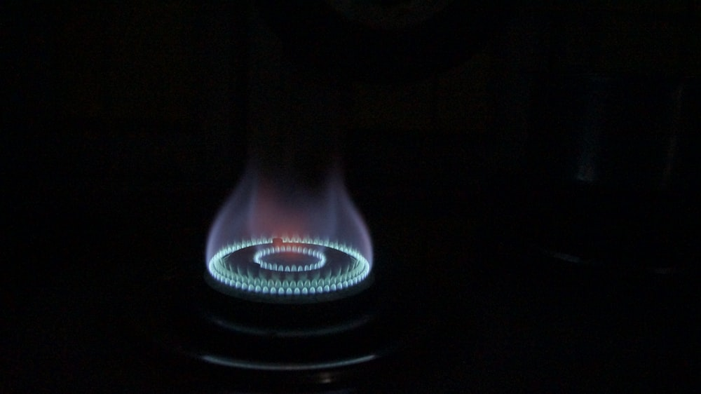 black and blue electric fireplace