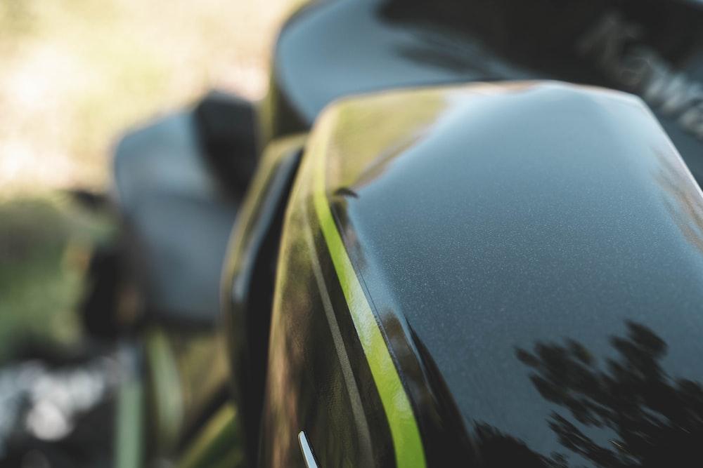 blue and green car hood