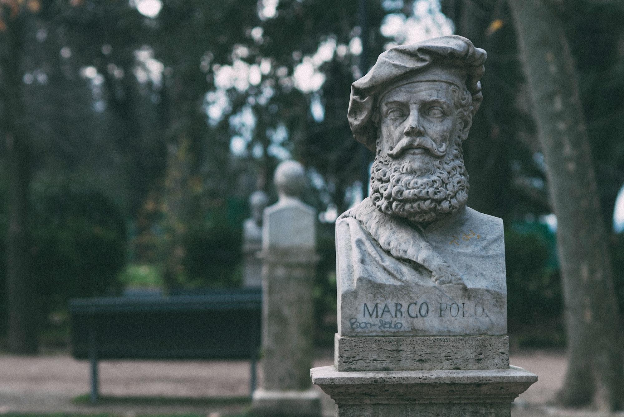 Sculptural bust of traveler Marco Polo.