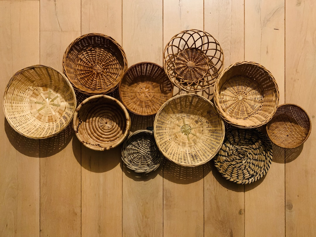 Baskets that might be part of a wall decoration