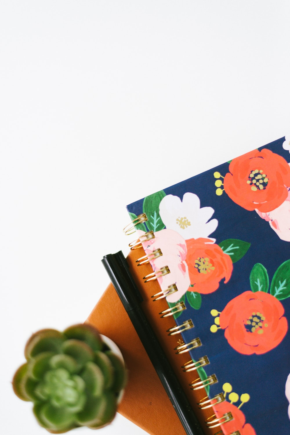 blue and pink floral notebook