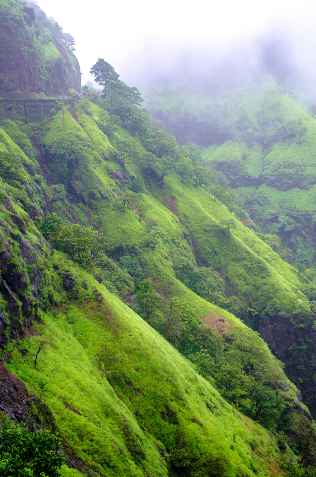 Hills in the Varandha Ghats of Maharashtra during monsoon season. Ideal for trekking and camping.