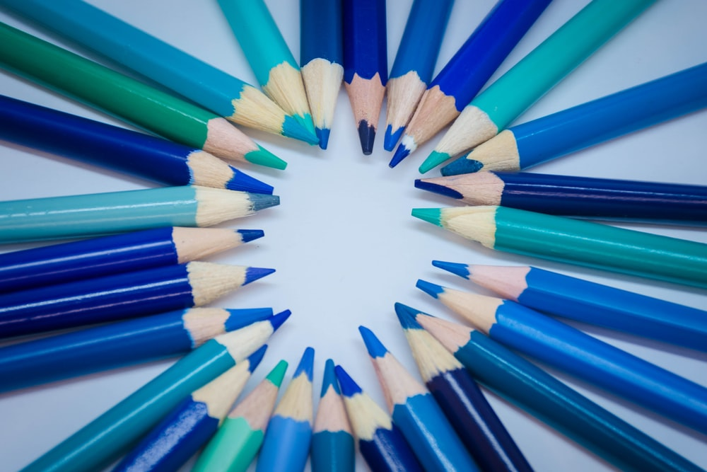 blue green and yellow coloring pencils
