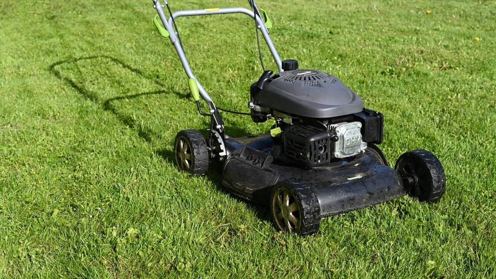 black and yellow push lawn mower on green grass during daytime