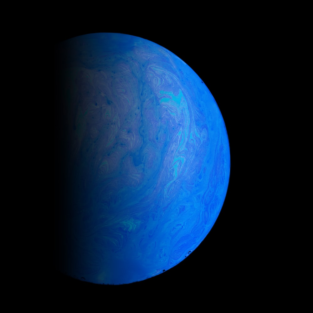 blue and white planet illustration