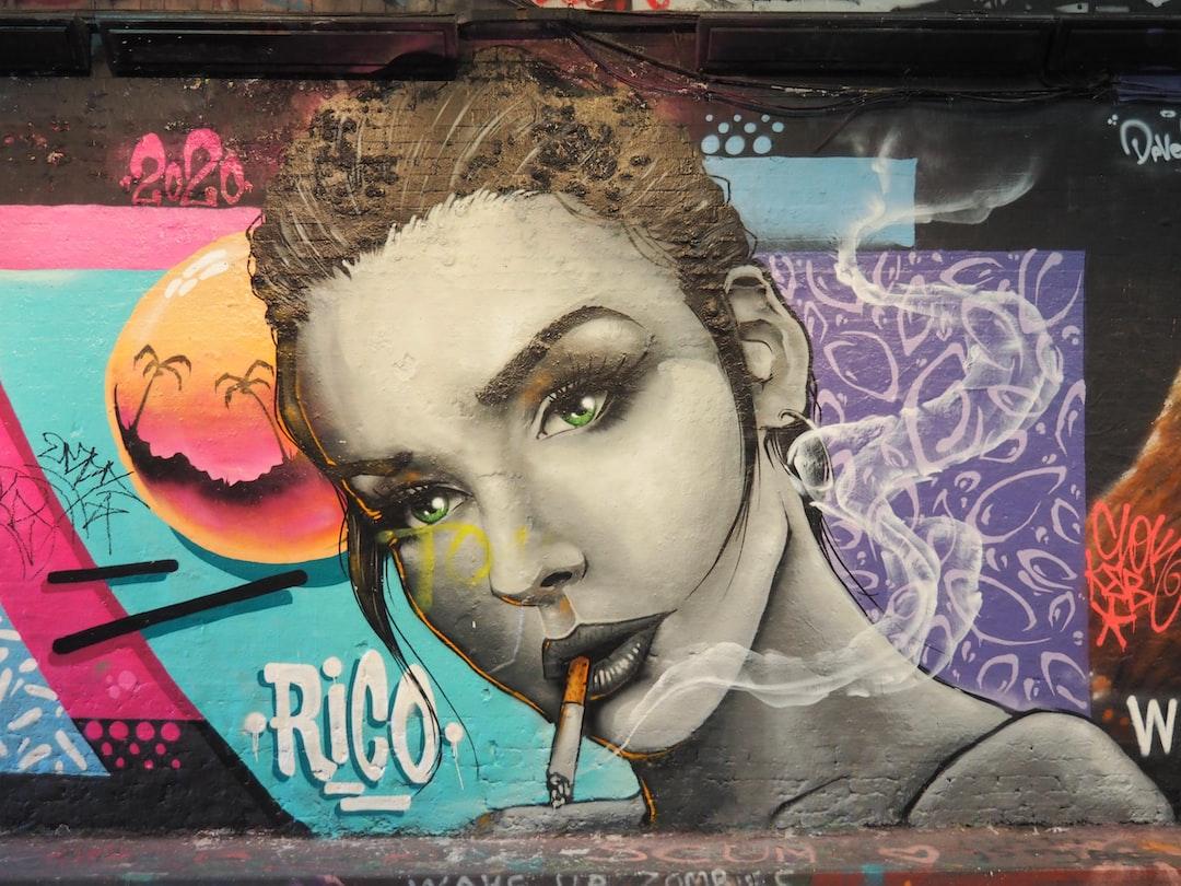 Street Art, Graffiti Art, Woman Smoking Cigarette