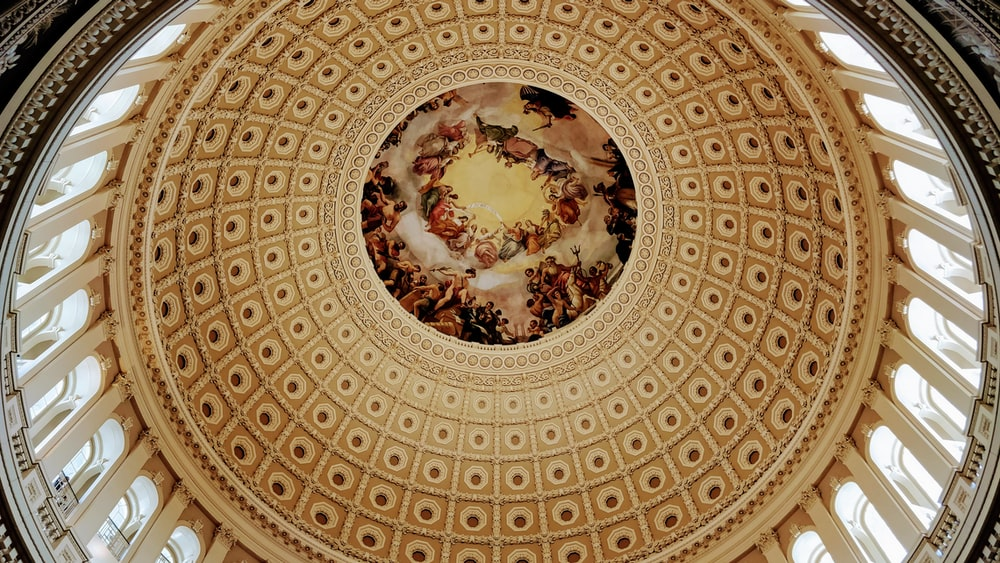brown and white floral ceiling