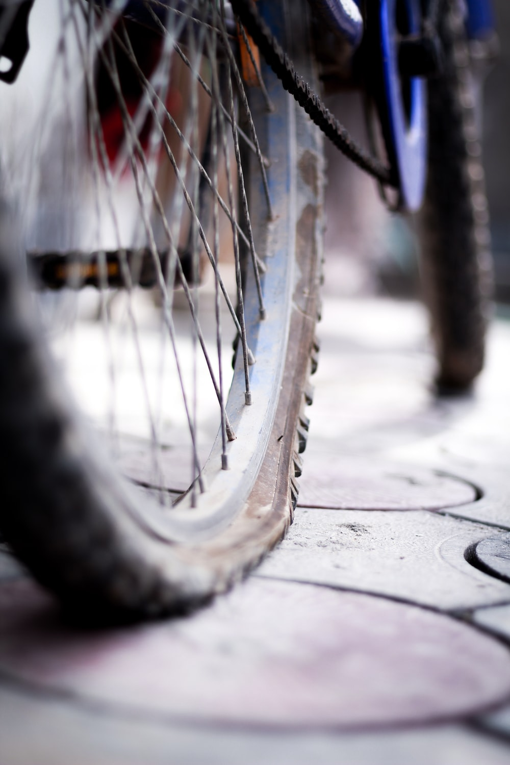 bicycle wheel with tire on concrete pavement