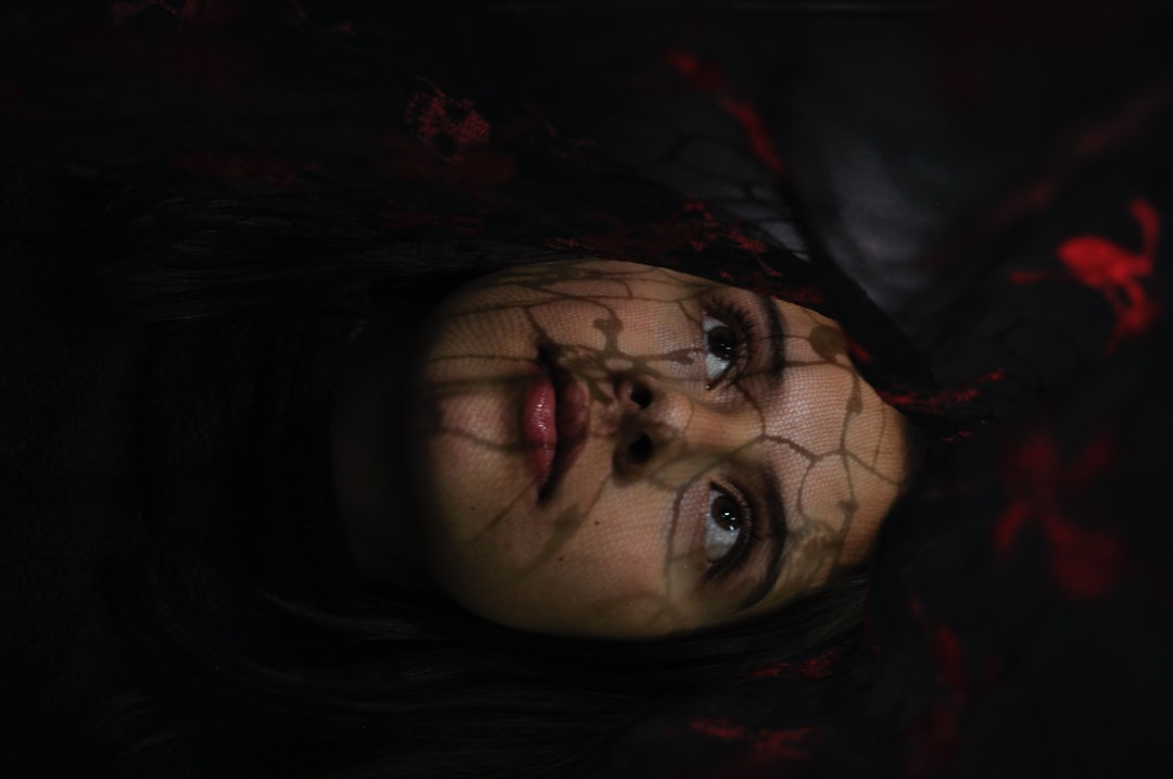 Girl Shadows Black Red Portrait