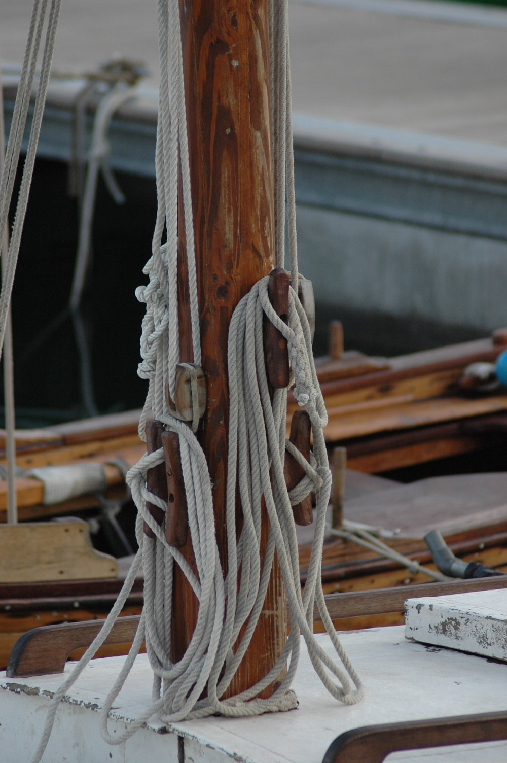 white rope on brown wooden table