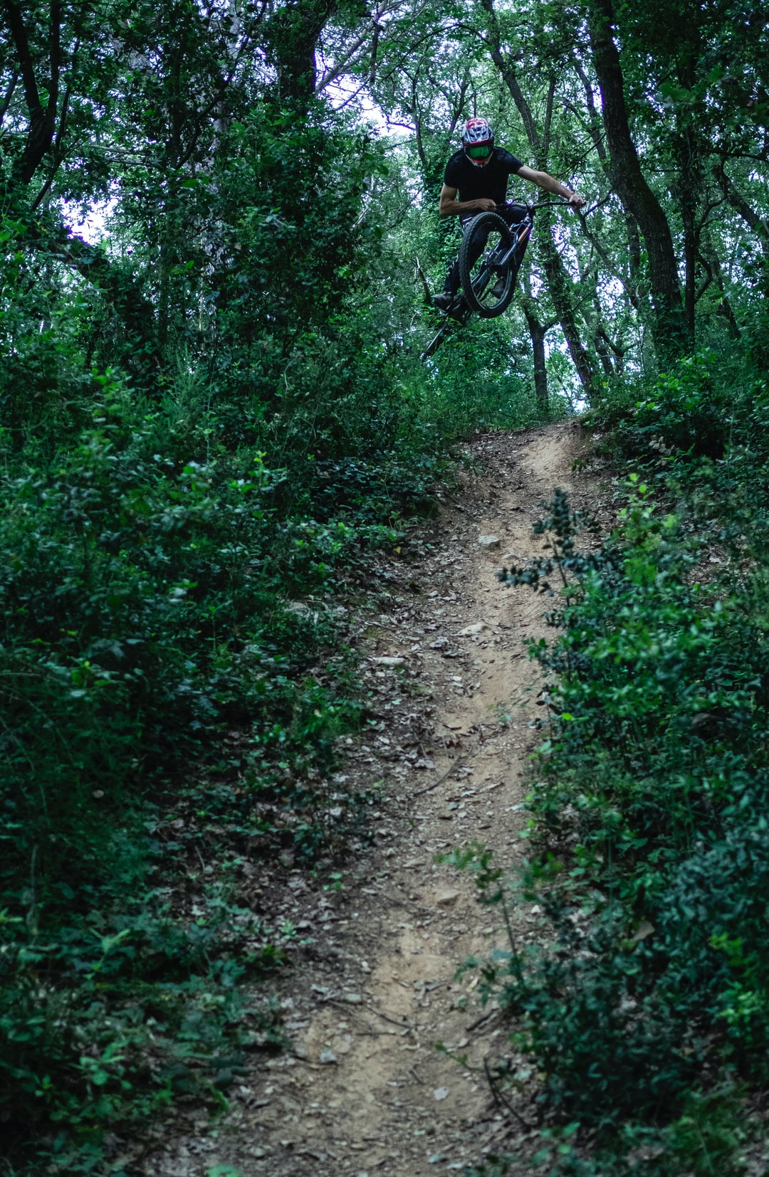 Freeride Downhill Bike Session. My friend making a big jump inside a forest, crazy ;).