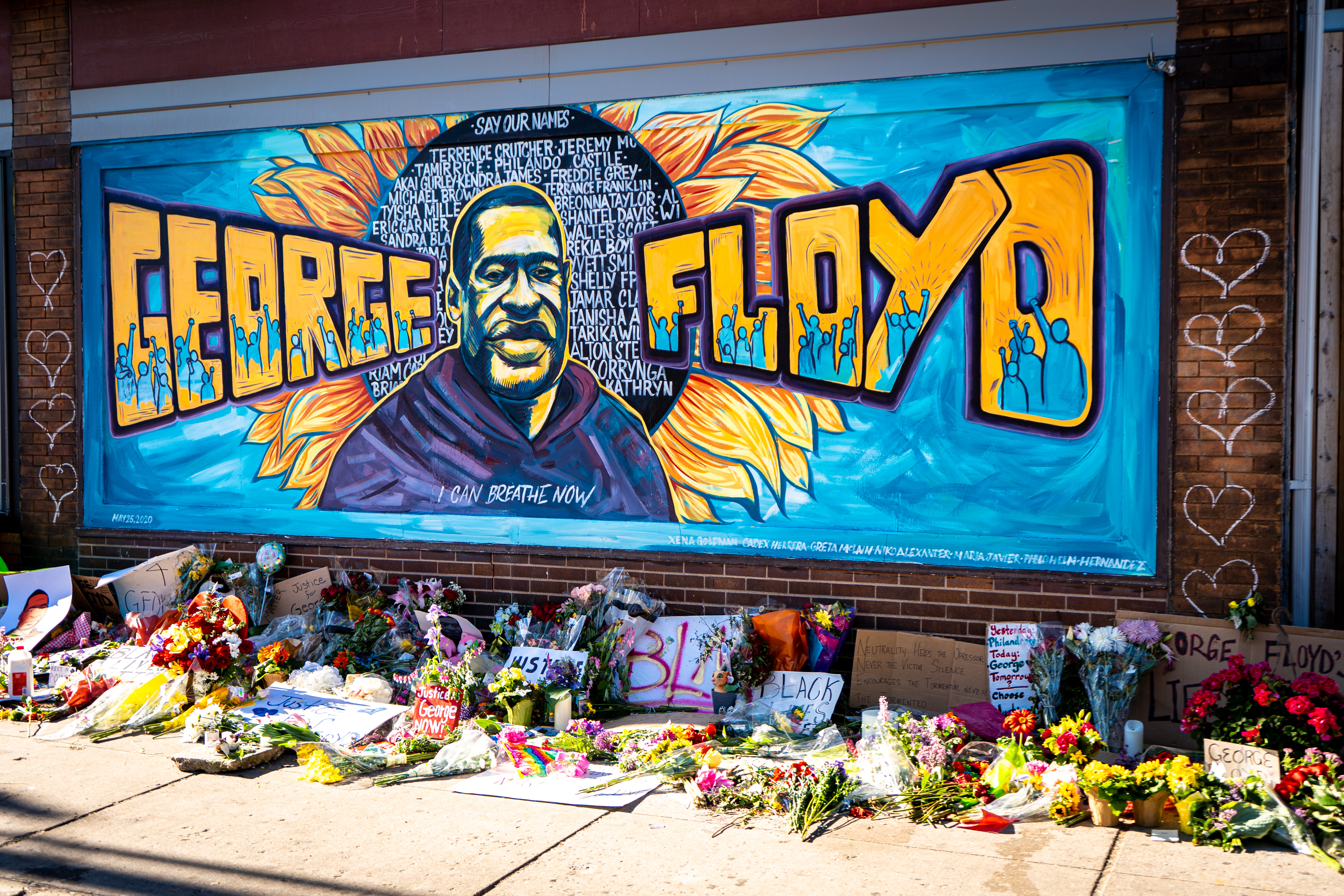 beautiful graffiti mural honoring george floyd from black lives matter protest . . . for more editorial photos: http://www.shutterstock.com/g/MUNSHOTS?rid=267047586