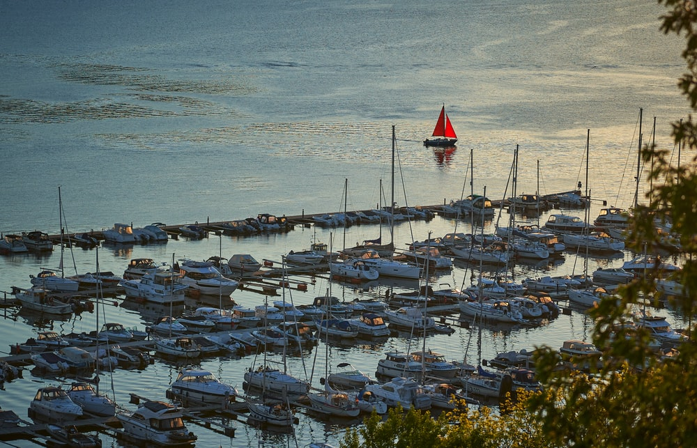 white and red sail boats on sea shore during daytime
