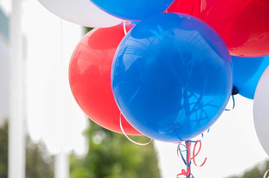 red, white and blue balloons, celebration, helium balloons