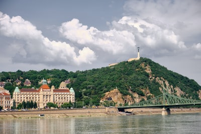 white and brown concrete building near body of water under white clouds and blue sky during hungary teams background