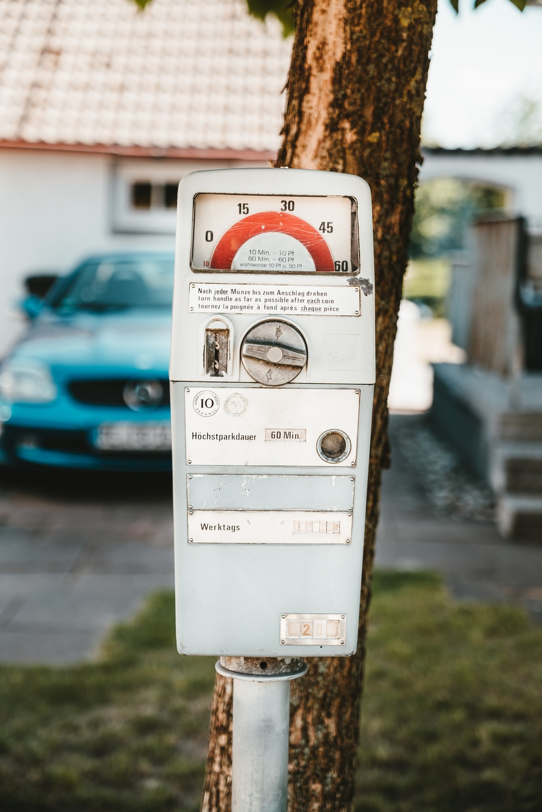 """A 40+ year old parking clock from Germany! Back then, you paid with """"Pfennig"""" and """"Mark"""". It's a completely mechanical parking meter, outcommissioned 1993 - and still working today!"""