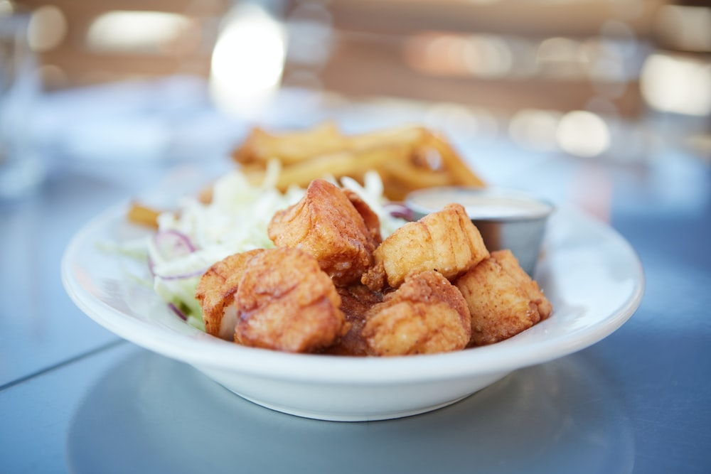 fried food on white ceramic plate