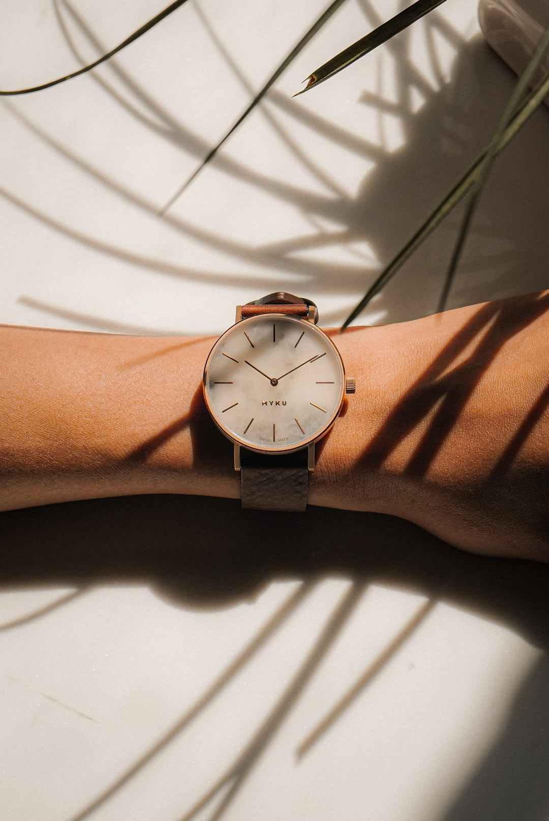 Marble Watch on Lady's wrist, plant casting shadows
