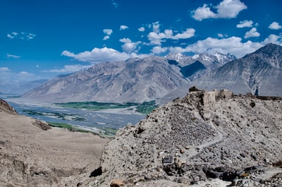 gray rocky mountain near body of water during daytime tajikistan zoom background